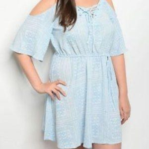 Cold Shoulder Blue with White Pattern Plus Dress